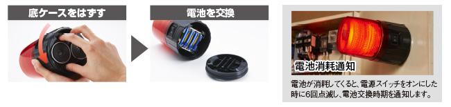 パトライト電池式フラッシュ表示灯PFH-BTカバー交換の説明