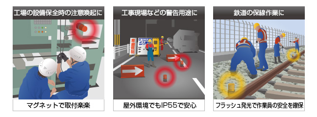 パトライト電池式フラッシュ表示灯PFH-BT利用場面使用例
